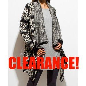 Sweaters - Beautiful Marled Open Boho Cardigan Black Size S